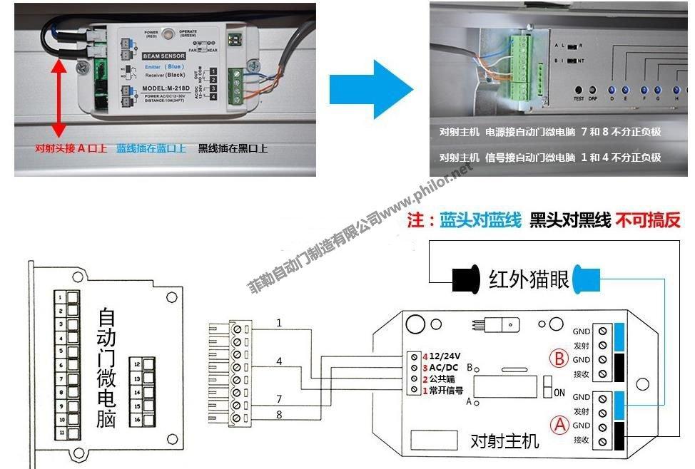 自動門控制器連接紅外對射(安全光線)圖解